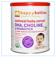 Nurture Inc. (Happy Baby), Happybellies, Oatmeal Baby Cereal, DHA, Choline, and Probiotics, 7 oz (198 g)
