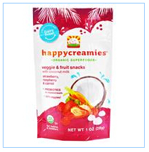Nurture Inc. (Happy Baby), happycreamies,蔬果零食,草莓、覆盆子和红萝卜口味,1盎司(28克)