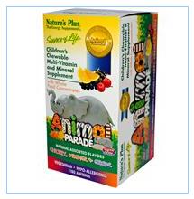 Nature's Plus, 可爱动物造型儿童综合维生素和矿物质咀嚼片,不同口味,180片