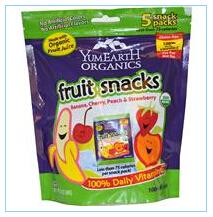 Yummy Earth, 有机干果,香蕉,樱桃,桃和草莓,5包,3.5盎司(99克)总重量