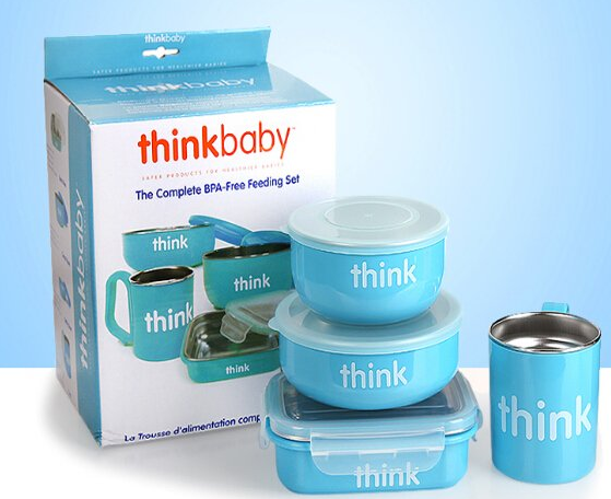 Thinkbaby 辛克宝贝儿童餐具4件套蓝色款