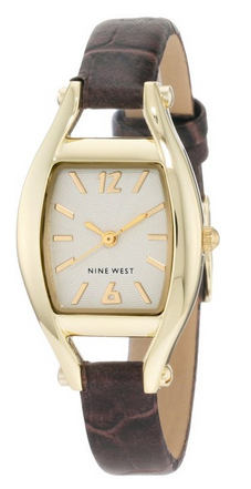 玖熙 NW/1226SVBN Gold-Tone Brown Croco-Grain Strap Watch 女士时尚腕表