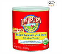 【​EARTH''S BEST Organic Infant Formula 有机含铁奶粉(658g*4罐)】