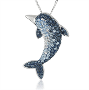 好价!【Amazon Collection Crystal Dolphin Pendant 纯银项链】