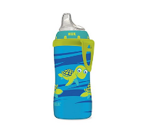 美亚直邮【NUK Blue Turtle Silicone Spout Active 学饮杯】