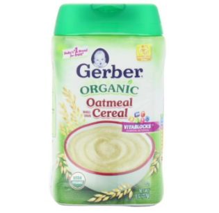 Gerber 嘉宝 Cereal DHA and Probiotic 有机糙米谷物米粉 6罐装,8 Ounce (Pack of 6)