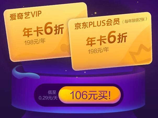 爱奇艺9周年,年卡(198元)+京东PLus会员年卡(198元)