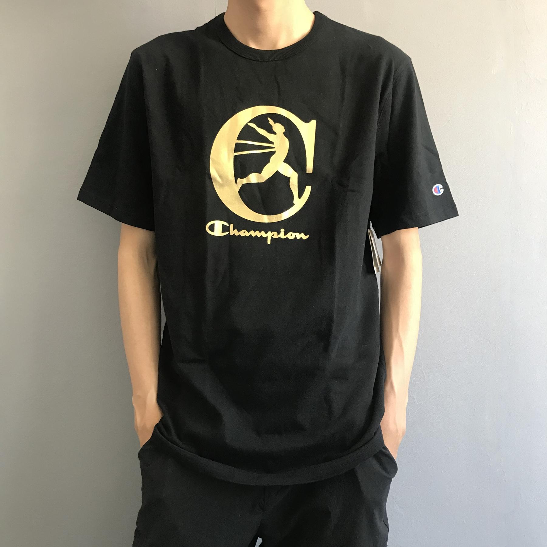 白菜价!#亚马逊海外购#Champion 冠军男士烫金纯棉T恤