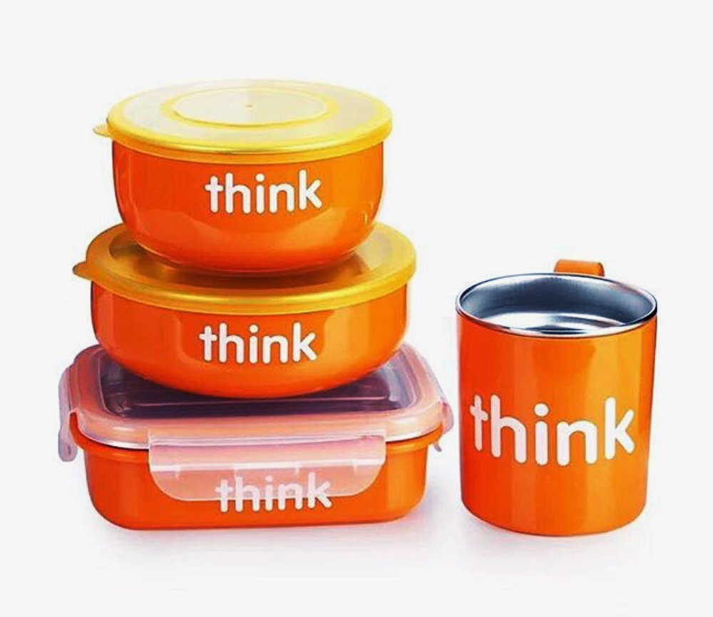 明星同款!ThinkBaby辛克宝贝 不锈钢儿童餐具4件套 橙色款