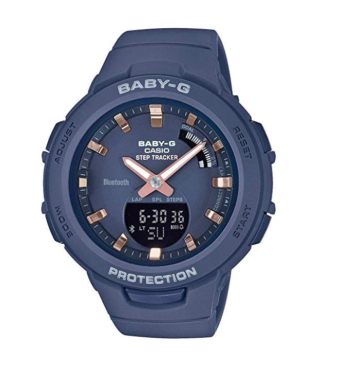 CASIO卡西欧 BABY-G 系列 BSA-B100女士防水蓝牙手表蓝色款