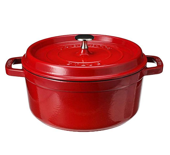 颜值也太太太高了8!Staub 圆形带盖珐琅锅铸铁锅 24cm 樱桃红